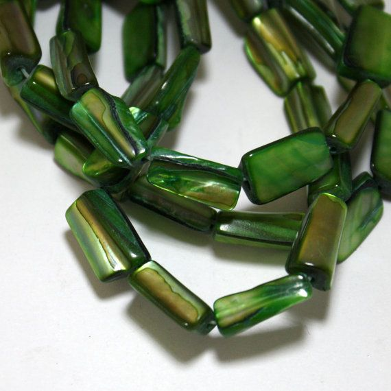 1 Strand Green Mother of Pearl Shell Beads  15 by ThisPurplePoppy