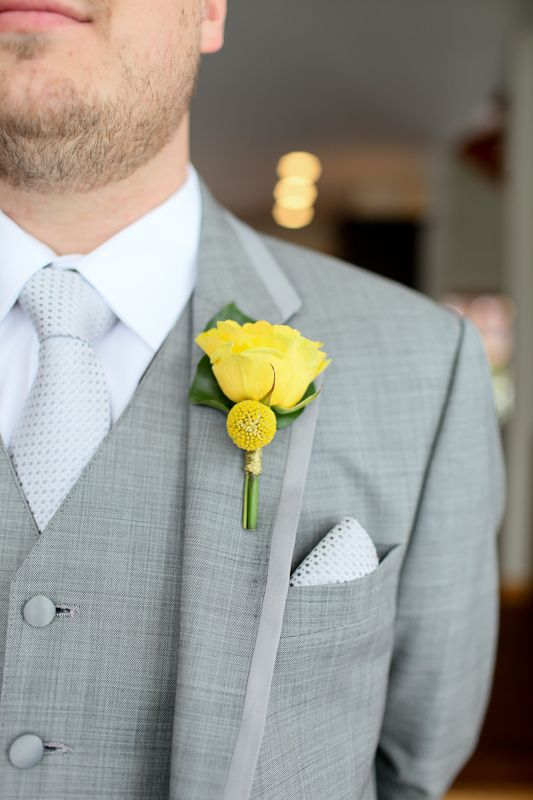 Yellow boutonniere, rose and craspedia, grey and yellow wedding ...