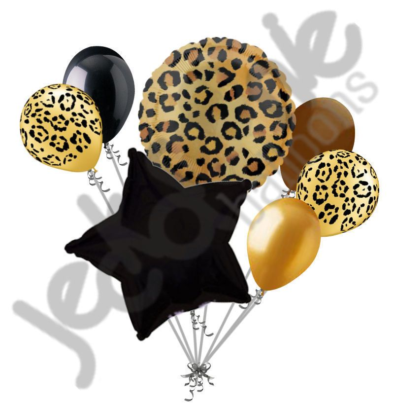 Details About 7 Pc Tan Cheetah Print Balloon Bouquet Happy