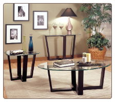 Gogofurniture This 3 Piece Glass Metal Coffee Table & 2 End