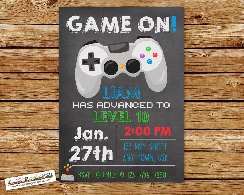 Video Game Invitation Video Game Birthday Gaming Etsy In 2020 Laser Tag Birthday Party Video Games Birthday Video Games Birthday Party