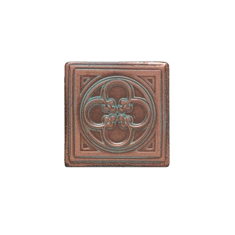 "Daltile CM01-22DOTA1P Castle Metals 2"" x 2"" Ceramic Clover Dot Decorative Multi- Aged Copper Tile Accessories Tile Moldings Decorative Accent"