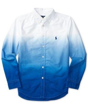 ad09cf5d8 Ralph Lauren Dip-Dye Oxford Shirt, Big Boys (8-20) - White/Cruise Royal XL