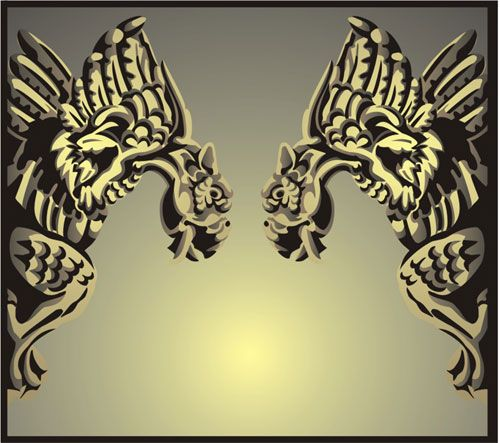 Facing Gargoyles Gothic Stencil Design From Kingdom