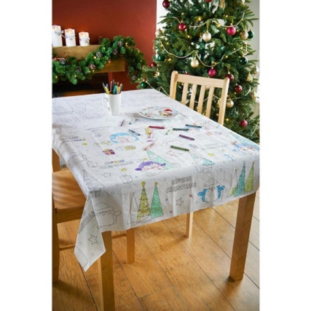 Colour Your Own Tablecloth Christmas Kids Activities Dinner School Nursery Draw Allforyou Christmas Table Cloth Christmas Table Decorations Christmas Table