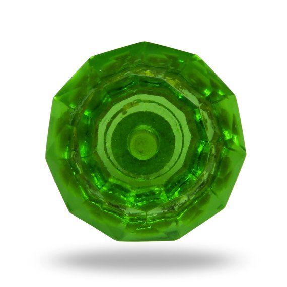 Green Decorative Furniture Knob Cut Glass Door Knob by TrincaFerro ...