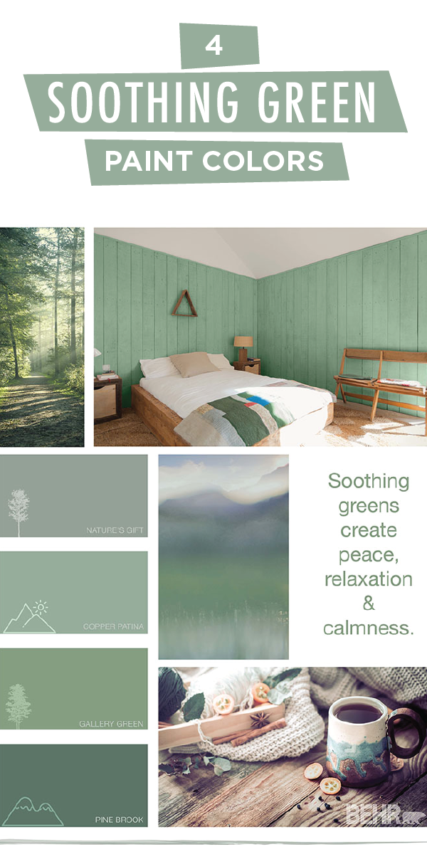 Turn Your House Into A Home With This Soothing Green Color Palette From Behr Paint Shades Like Nature S Gift Copper Patina Gallery And Pine Brook