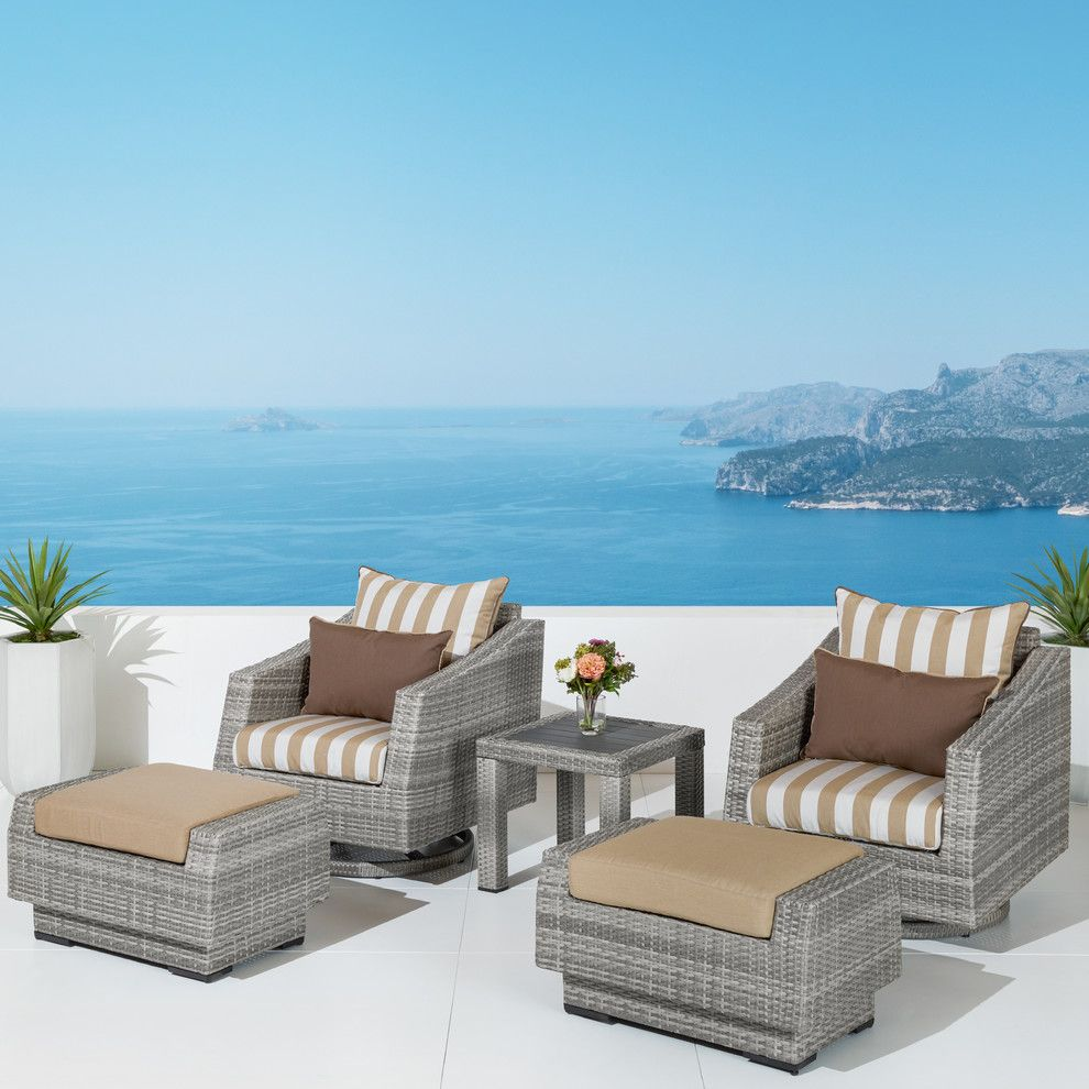 Superb Winslow 5 Piece Outdoor Swivel Chair And Ottoman Set Beige Pabps2019 Chair Design Images Pabps2019Com
