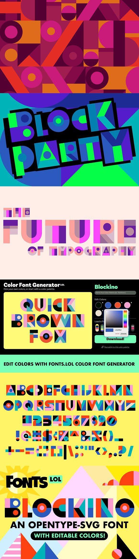 Blockino OpentypeSVG Color Font Font graphic, Fonts