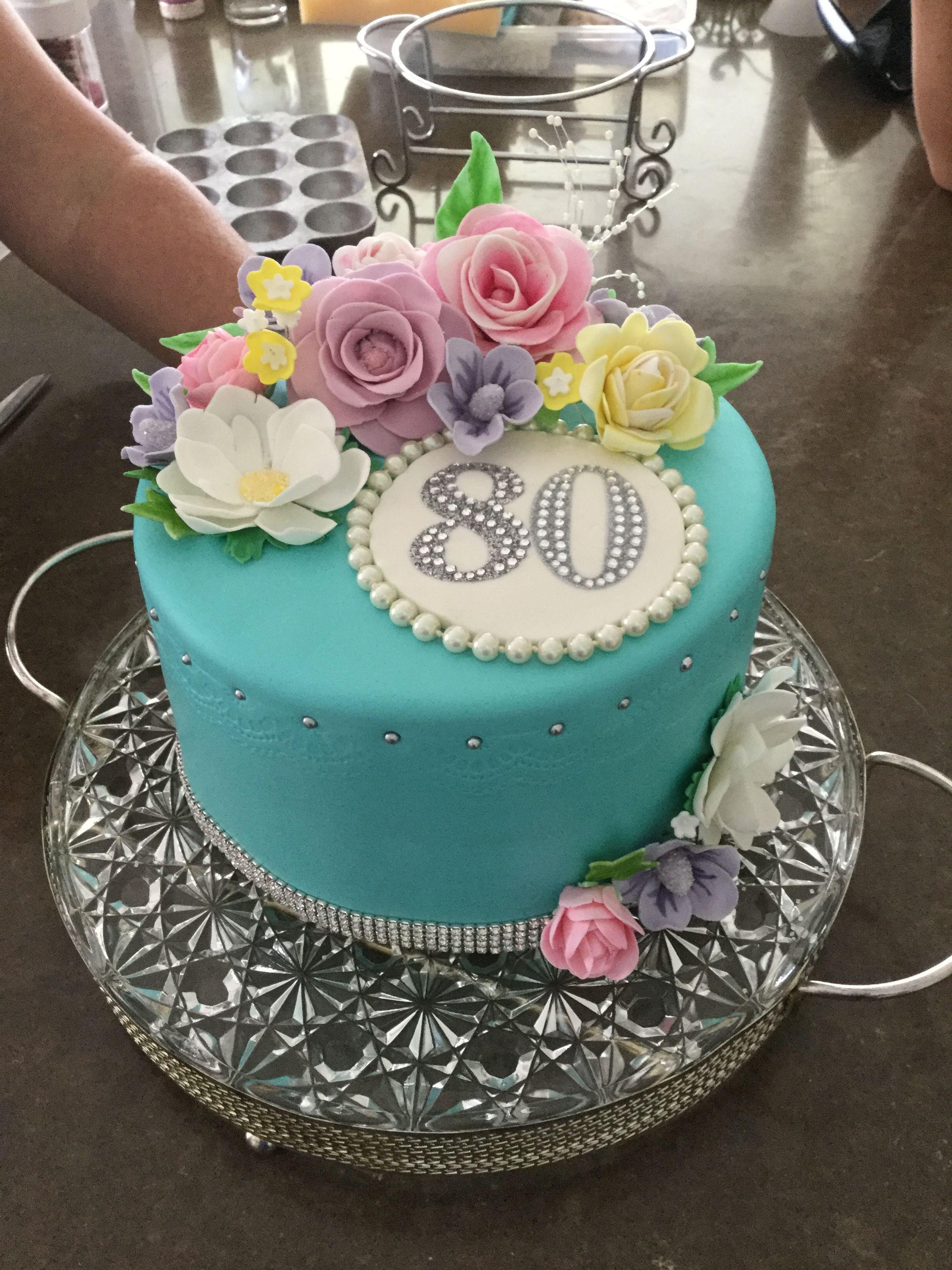 Awesome Floral 80Th Birthday Cake 80 Birthday Cake 90Th Birthday Cakes Personalised Birthday Cards Beptaeletsinfo