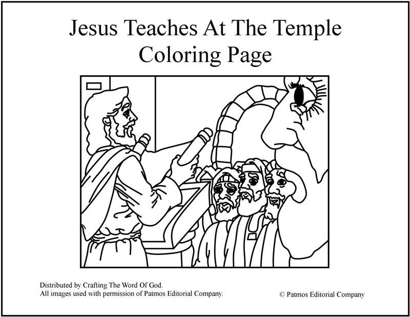 Jesus Teaches At The Temple Coloring Page (Day 1