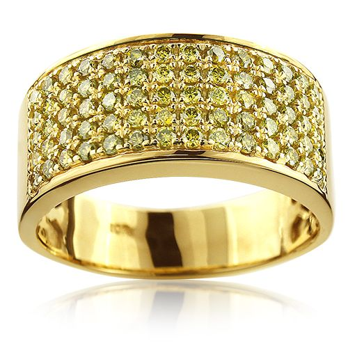 Designer 10K Gold Yellow Diamond Wedding Band for Men 167ct