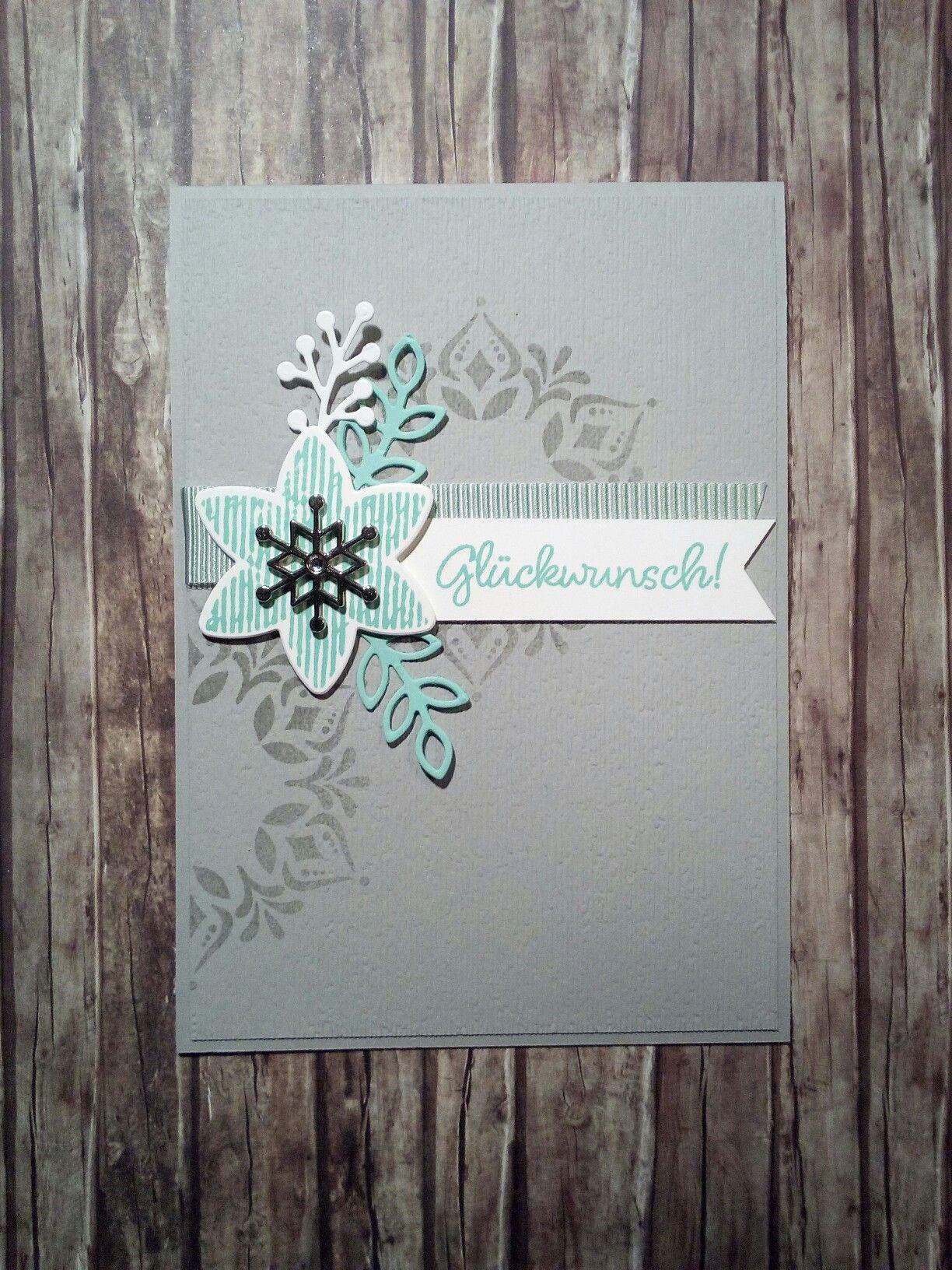 Geburtstagskarte mit Glück per Post Flockengestöber in Jade