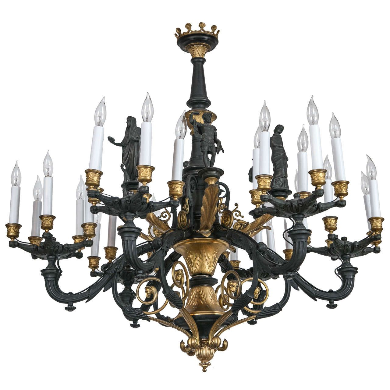 Large parcel gilt bronze gaslight chandelier with greco roman figures arubaitofo Gallery