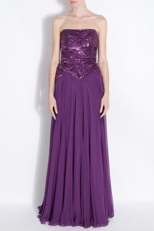 Strapless 1/2 Beaded Gown by ELIE SAAB