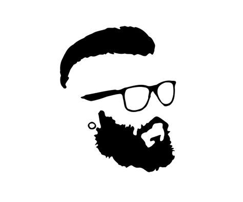 Hipster Beard Glasses Silhouette Png 600 215 500 Barber 1