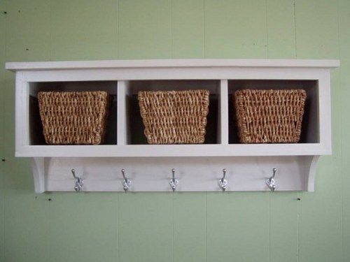 Cubby Wall Shelf Country Shelf For Baskets Bath Or Entryway W Hooks Country Shelves Coat Rack Wall Shelves