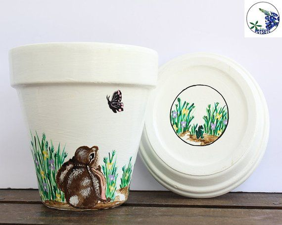 Cute Bunny 6 Inch Flower Pot  Plant Pots, Garden Planters for Gardening Gifts, Clay Pots, Potsetc is part of garden Planters Painted - potsetc Thank you for stopping by and have a wonderful day! J Fisher Potsetc