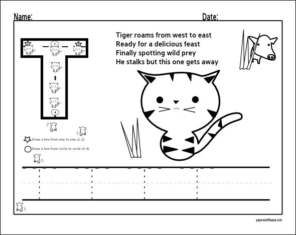 Alphabet T tracing worksheets for Preschool and Kindergarten
