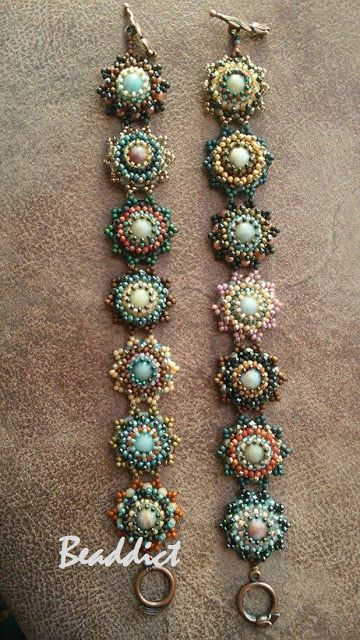 Amazonite bracelets. Pattern and beadwork by Beaddict. Seed beads, fire polished beads and amazonite stone beads.