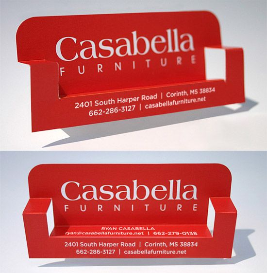 Post Image For Casabella Furniture S Business Card This Clever Folding Business Card Is Made Folded Business Cards Business Cards Creative Business Card Design