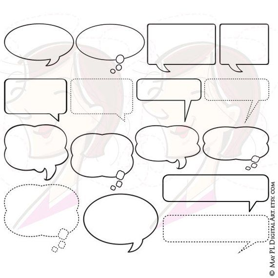 Speech Bubbles Clipart Thought Bubble Digital Vector Frame