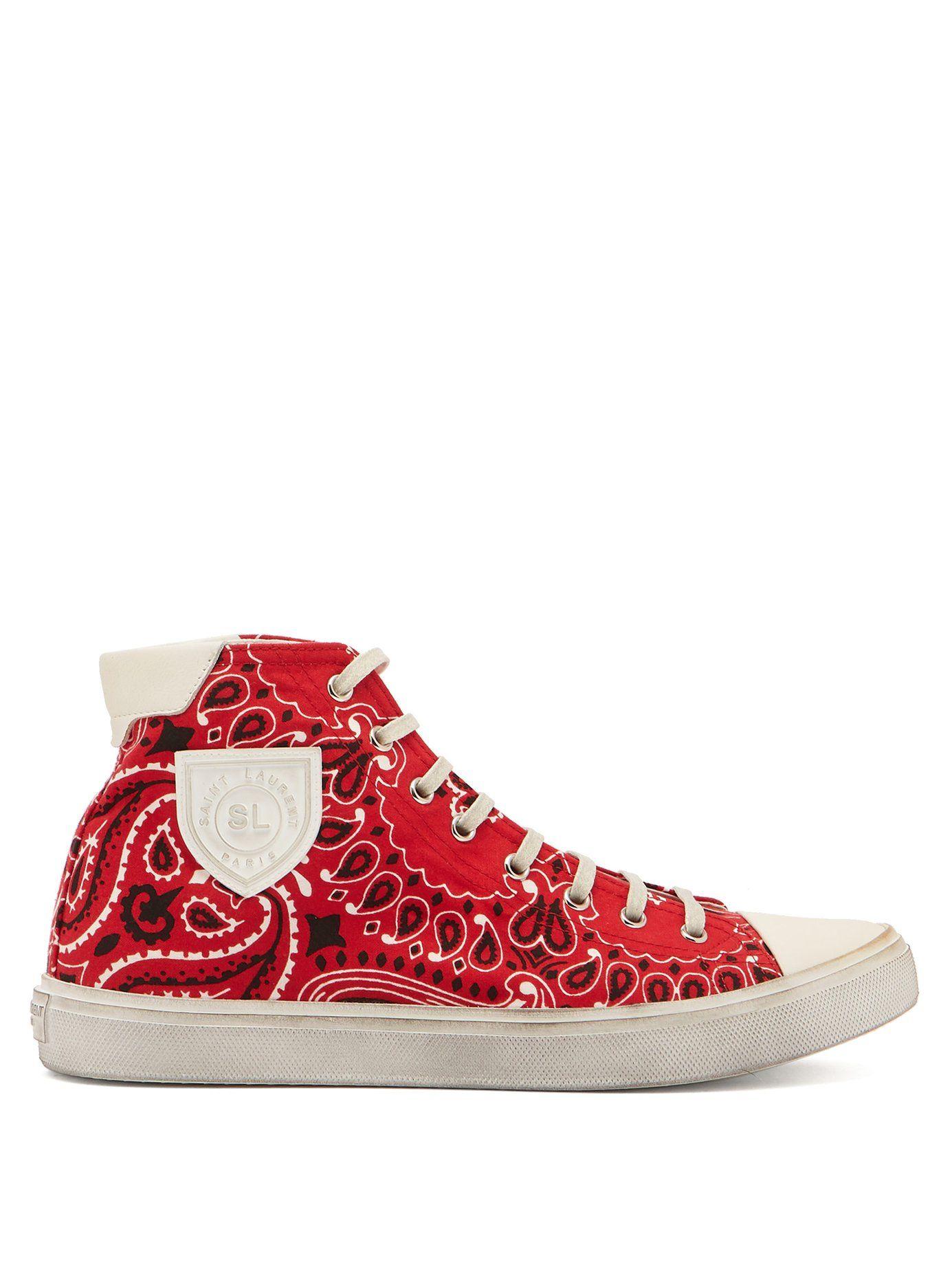 6cb853933512 GABRIELLE'S AMAZING FANTASY CLOSET | Bedford red bandana-print canvas  high-top trainers | Saint Laurent
