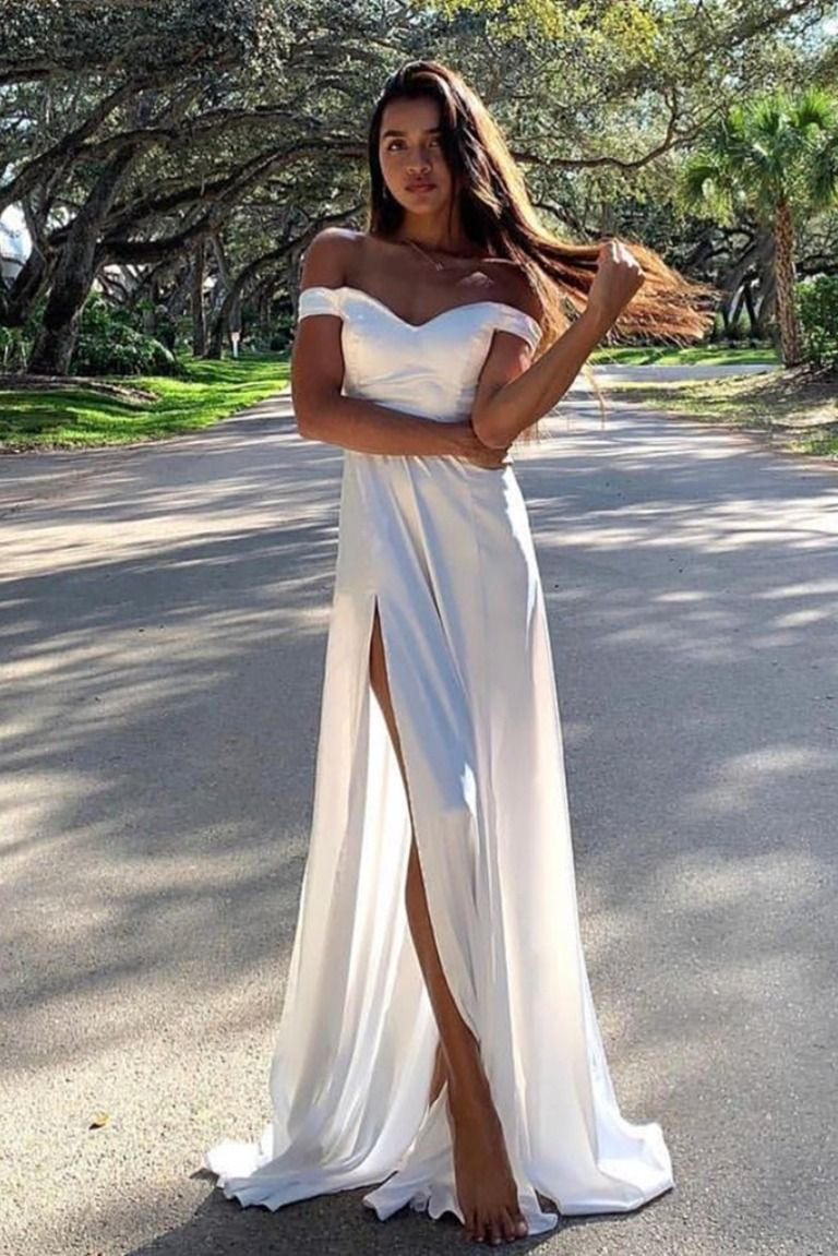 Long White Off The Shoulder Prom Dresses Formal Evening Gowns 6011575 White Prom Dress Long White Dress Formal White Prom Dress [ 1151 x 768 Pixel ]