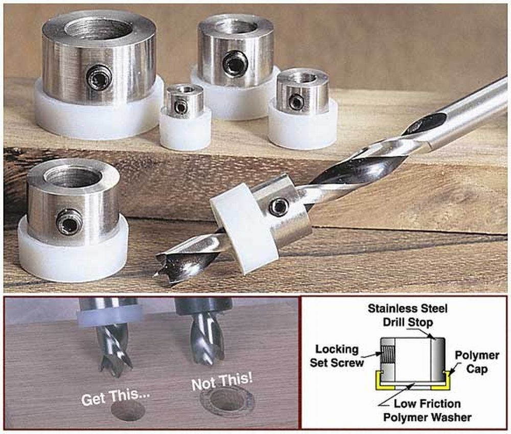 Set of Imperial Drill Stops For Setting Hole Depth When Drilling