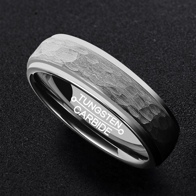 HSG Mens Fashion 6mm Tungsten Ring Hammer Matte Comfort