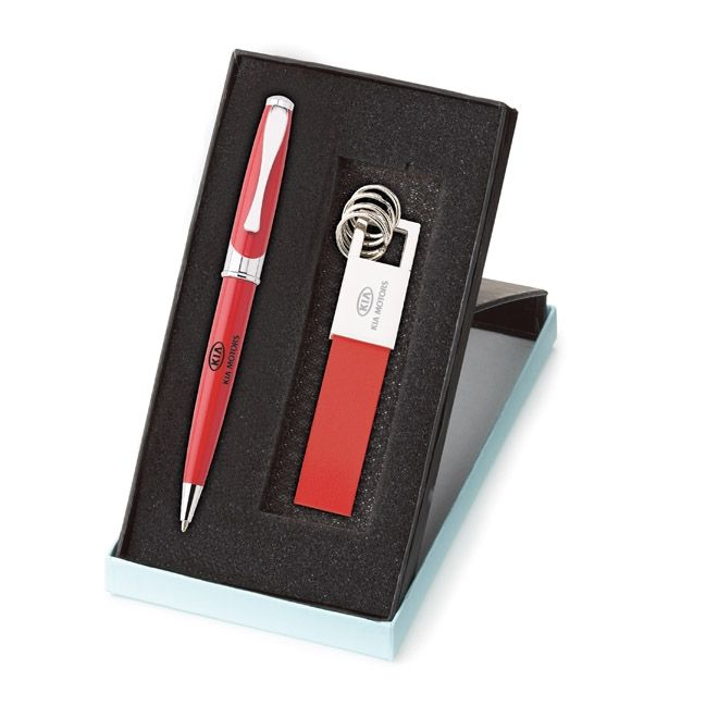 G641 Maxine Ballpoint & Leather Key Ring Set - Imprint Method: Silk screened: Pen / Laser engraved: Key ring - Colors: blue, black, red, green and orange
