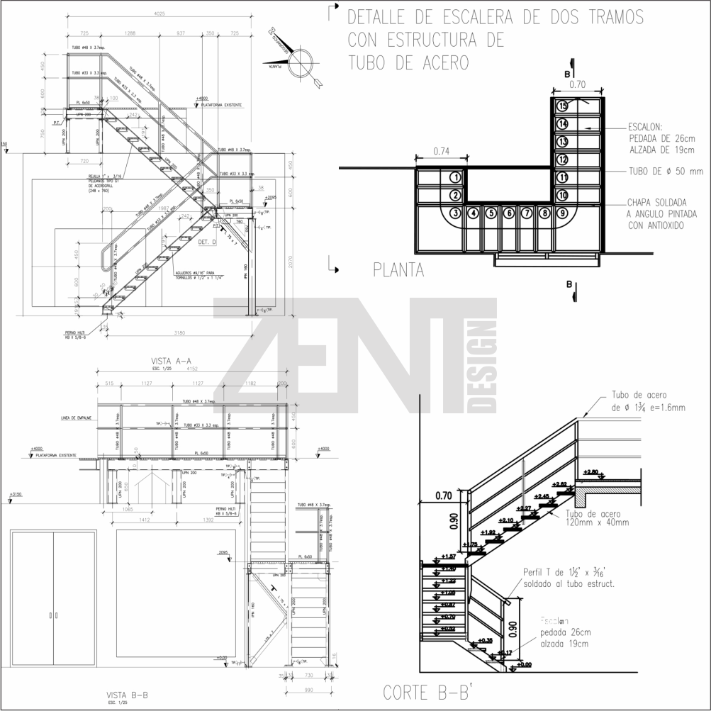 Zent design 2d escaleras de metalicas planos for Planos ingenieria civil