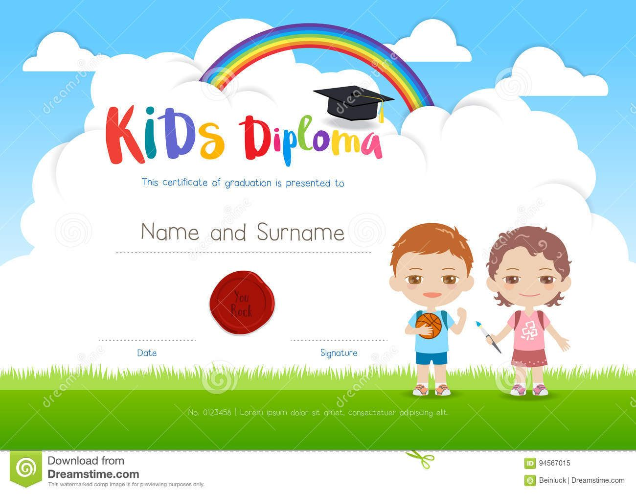 Colorful kids summer camp diploma certificate template in cartoo colorful kids summer camp diploma certificate template in cartoo stock vector image 94567015 1betcityfo Gallery