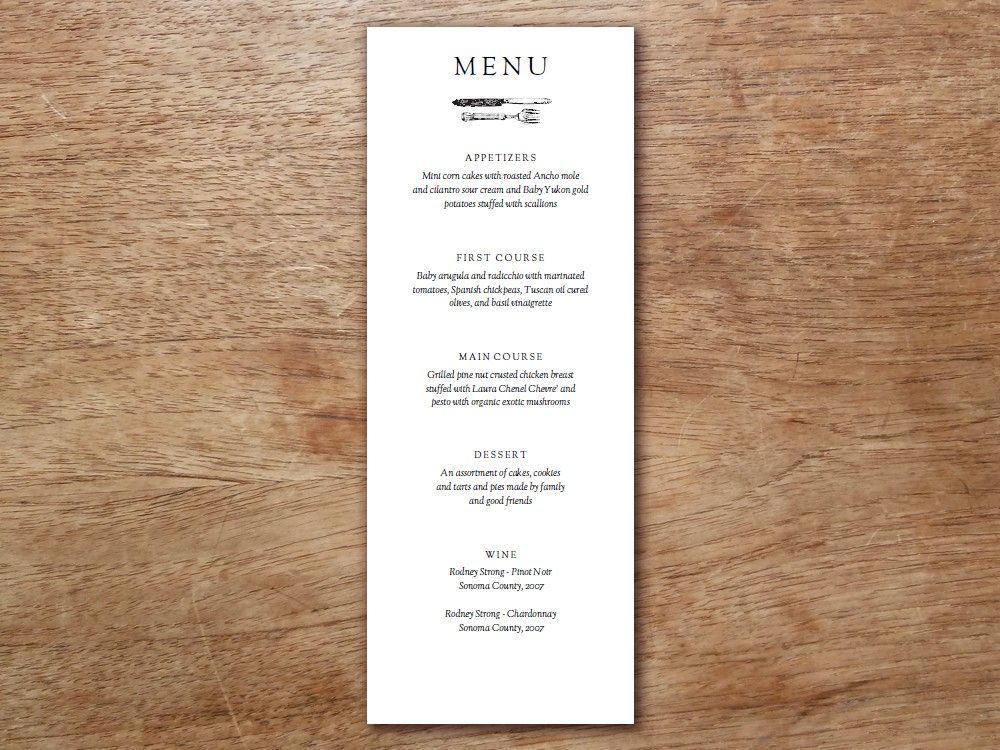 Menu Template Kate and Wills Printable menu, Menu