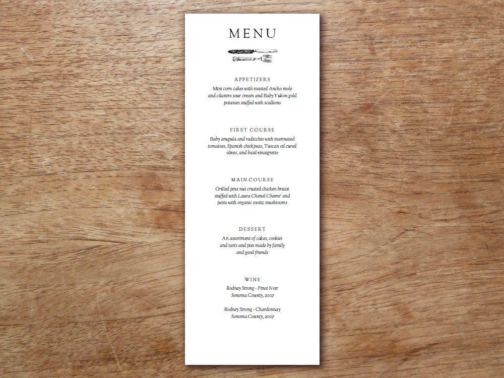 Menu Template Kate and Wills Printable menu, Menu