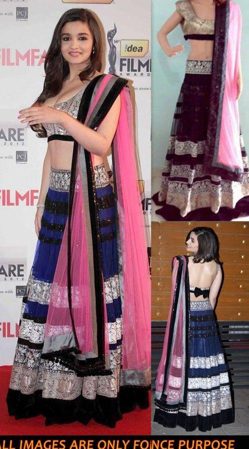 AG002933 Navy Blue Net Aliya Bhatt Unstitched Dress - IndiaBazaarOnline Shopping Store