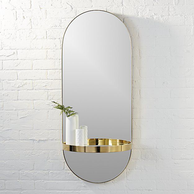 Caplet Oval Mirror With Shelf Cb2 Luxe Oval Looking Glass With