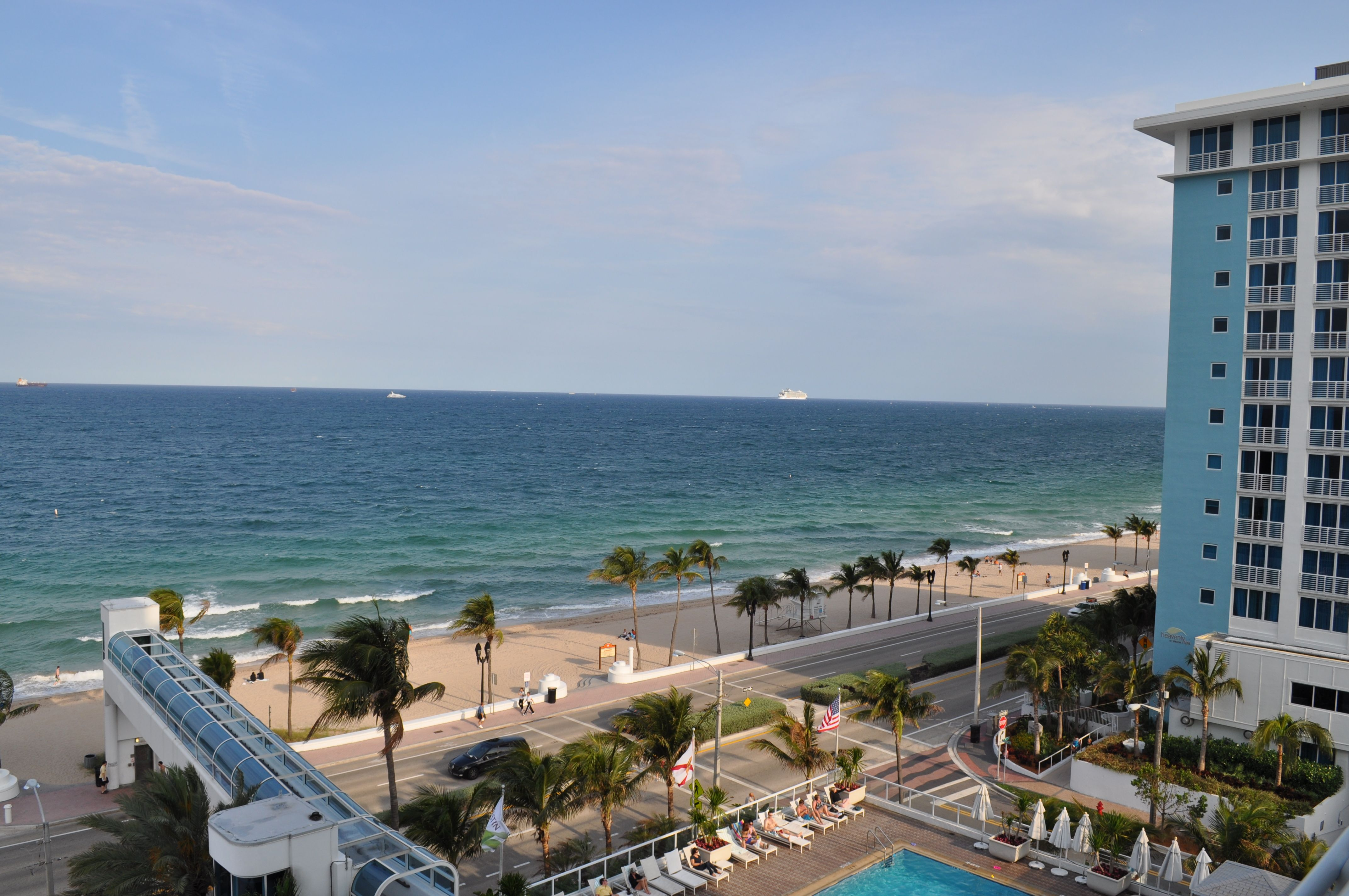 View of ships leaving Port Everglades from the 9th floor of the Westin Ft Lauderdale Beach.