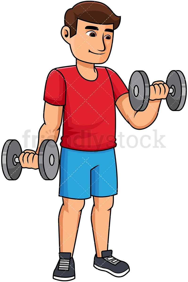 Man Lifting Dumbbells Cartoon Vector Clipart Working Out Clipart