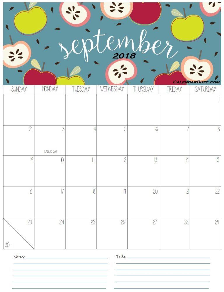 Calendario Dibujo Septiembre.September 2018 Calendar Calendarios Calendario