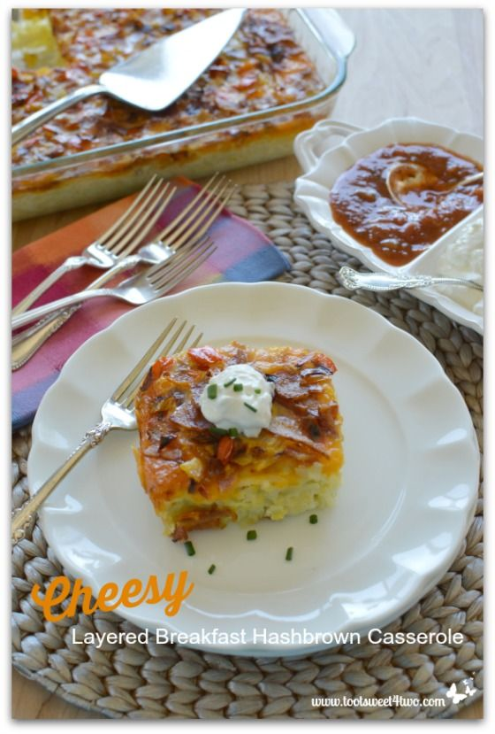 Cheesy Layered Breakfast Hashbrown Casserole is a savory and delicious breakfast that will feed a crowd. Keep this recipe handy for the holidays!
