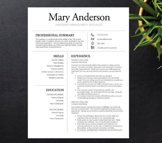 Resume Template for Word A4 \ Letter 1 2 3 page included Jas - 3 page resume