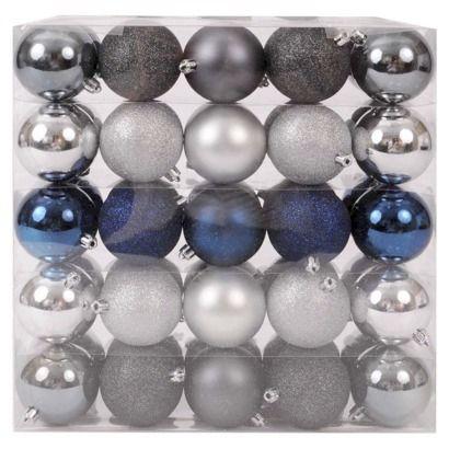 50-Piece 70mm Ornament Set - Silver/Navy | Blue christmas ...