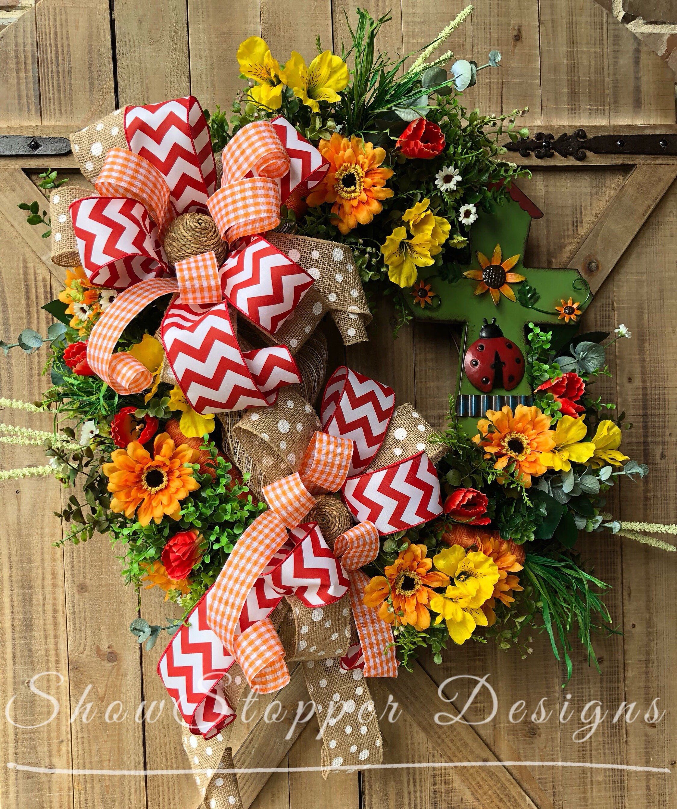 Ladybug Wreathsummer Wreathwelcome Door Signcross Door Welcome Door Signs Ladybug Wreath Material Wreaths