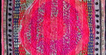 "Canadian Pioneer , 48"" w x 64"" h, re purposed wool blankets, wool fabrics, wool yarns      hand pieced, slashed, mended, bundle-tied..."
