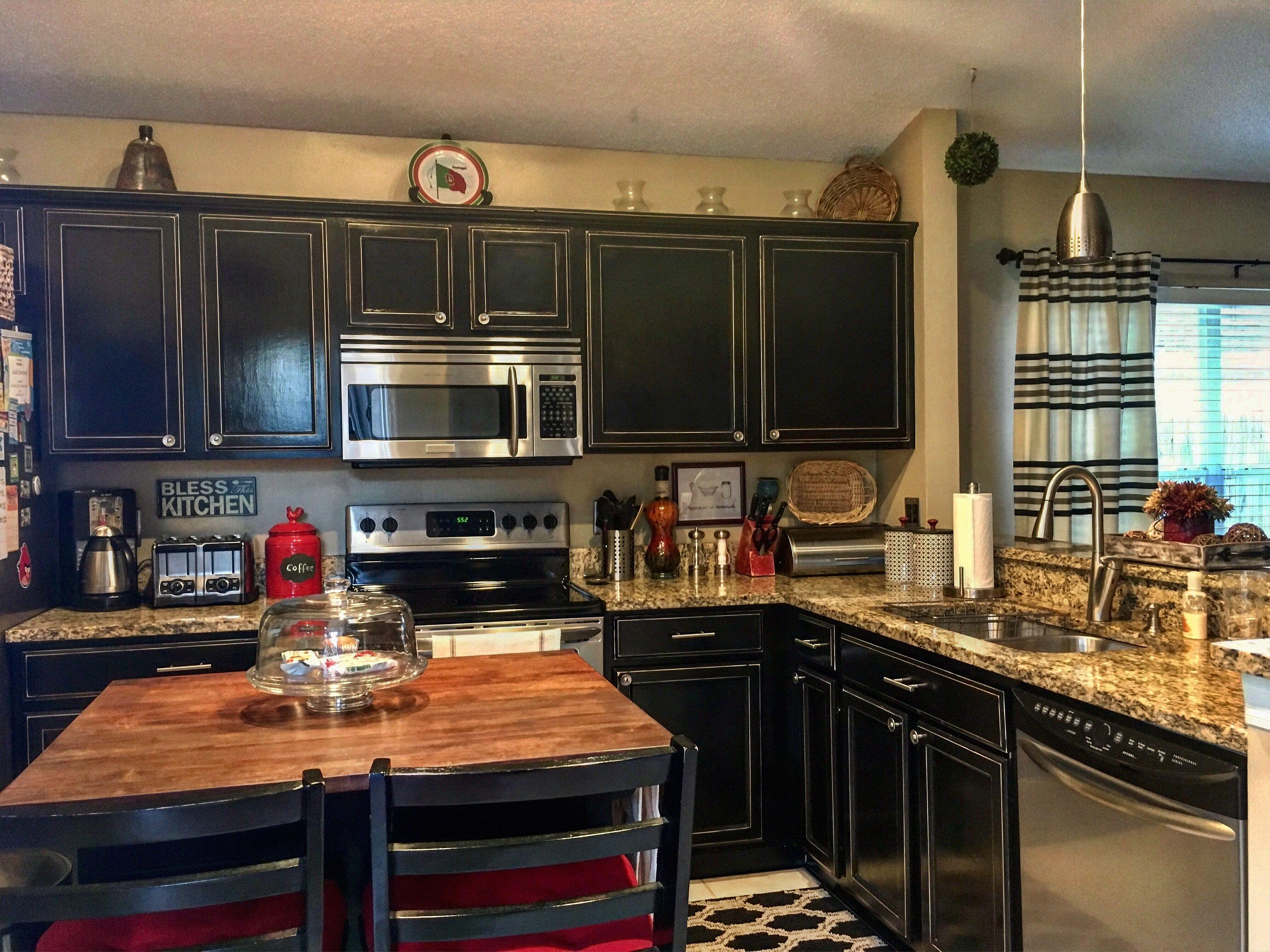 Black distressed kitchen Black farmhouse style