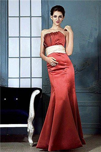 Julianas Elegant Ruched Sashes/Ribbons Mermaid/Trumpet Strapless Floor Length Strapless Bridesmaid Dress