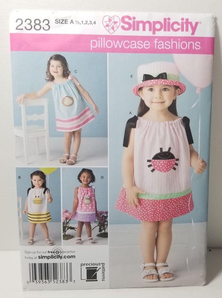 Simplicity Toddler S Pillowcase Dress Hat Pattern 2383 Size 1 2 4