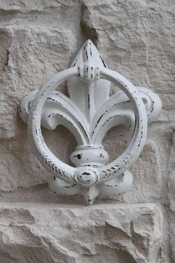 Fleur De Lis Door Knocker Or Hand Towel Holder, Cast Iron, White, Shabby