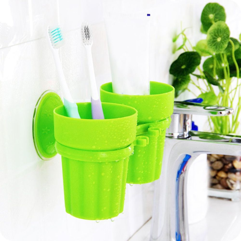 Strong Durable Couple Suction Cup Holder Fashion Cute Non Toxic Seamless Toothbrush Holder Toothpaste Rack With Images Bathroom Fixtures Suction Cup Holder Brushing Teeth